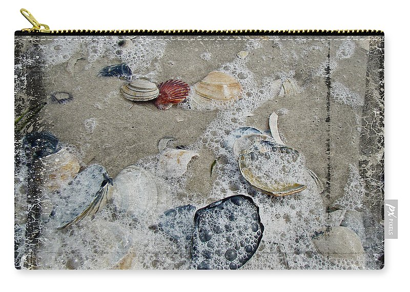 Shells Carry-all Pouch featuring the photograph Seashells In The Surf by Mother Nature