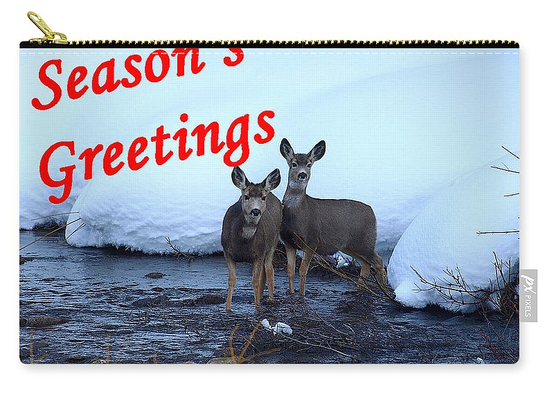 Christmas Cards Carry-all Pouch featuring the photograph Seasons Greetings Deer by DeeLon Merritt