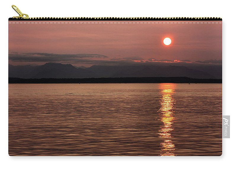 Sunset Carry-all Pouch featuring the photograph Seattle Sunset by Kristin Elmquist