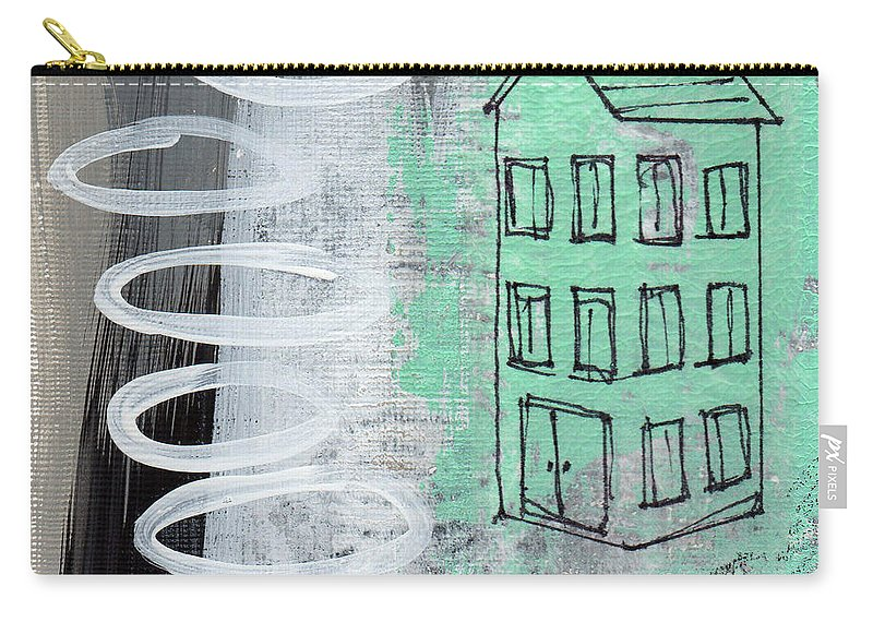 Abstract Carry-all Pouch featuring the painting Secret Cottage by Linda Woods