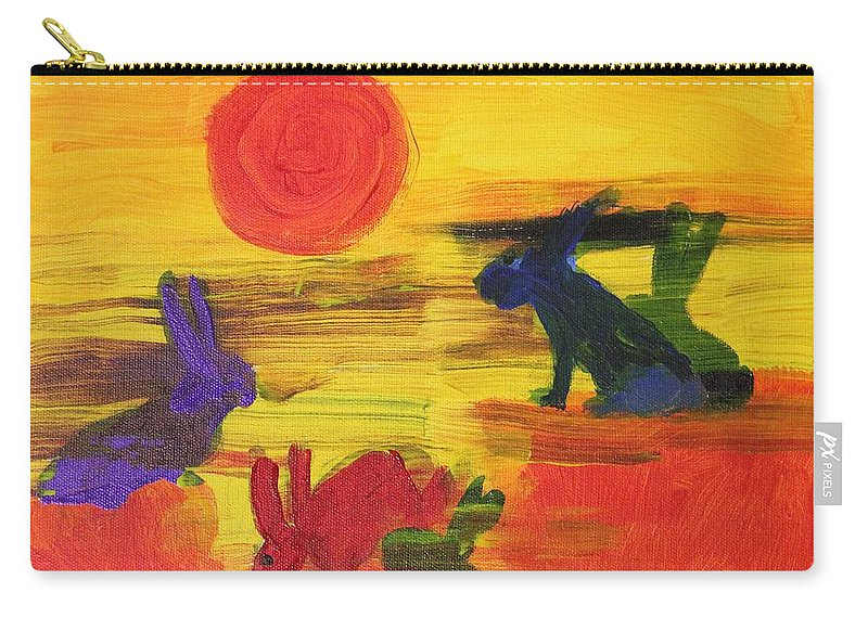 Color Carry-all Pouch featuring the painting Seeing Rabbits by Terry Lewey