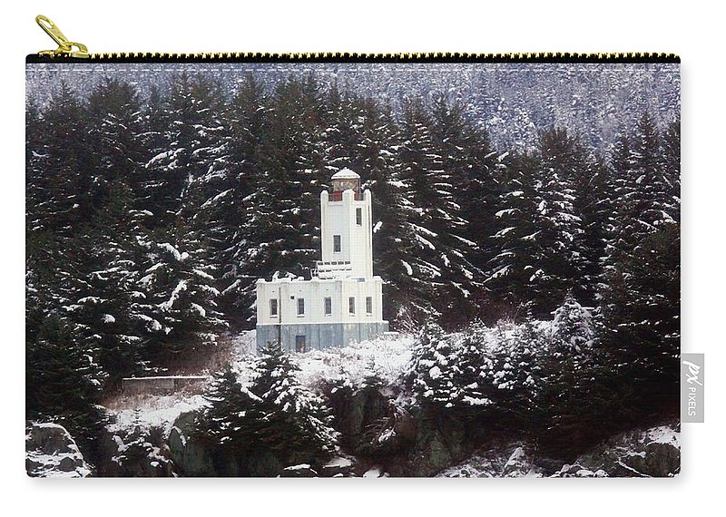 Lighthouses Carry-all Pouch featuring the photograph Sentinel Island Lighthouse In The Snow by Myrna Bradshaw
