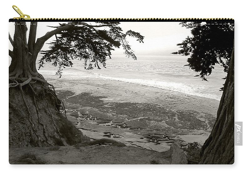 Landscape Carry-all Pouch featuring the photograph Sentinels View Of The Ocean Black And White by Kathleen Grace