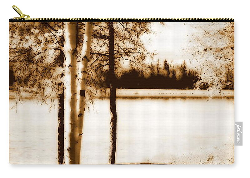 Chena Carry-all Pouch featuring the photograph Sepia Picnic Table Lll by Kathy Sampson