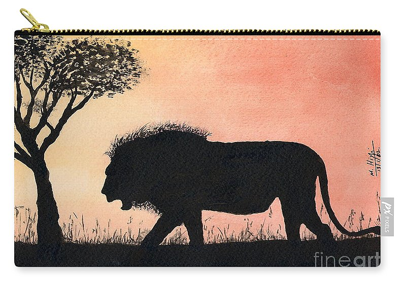 Simba Carry-all Pouch featuring the painting Serengeti Sunset by Mohamed Hirji
