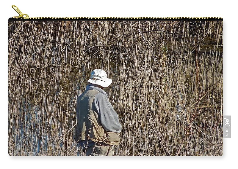 People Carry-all Pouch featuring the photograph Serious Fisherman by Diana Hatcher