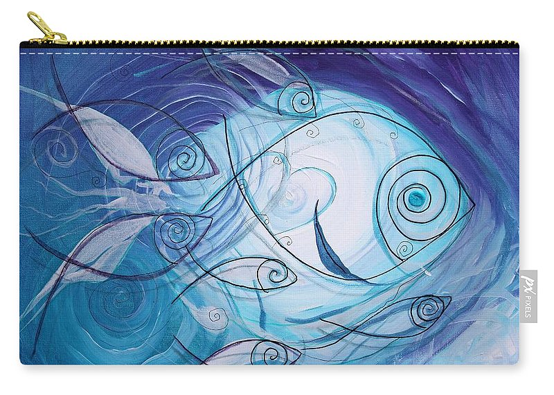 Fish Carry-all Pouch featuring the painting Seven Ichthus And A Heart by J Vincent Scarpace