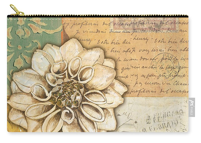 Flower Carry-all Pouch featuring the painting Shabby Chic Floral 1 by Debbie DeWitt