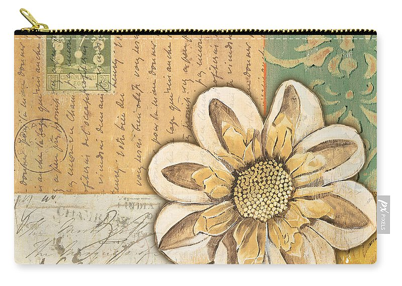Flower Carry-all Pouch featuring the painting Shabby Chic Floral 2 by Debbie DeWitt