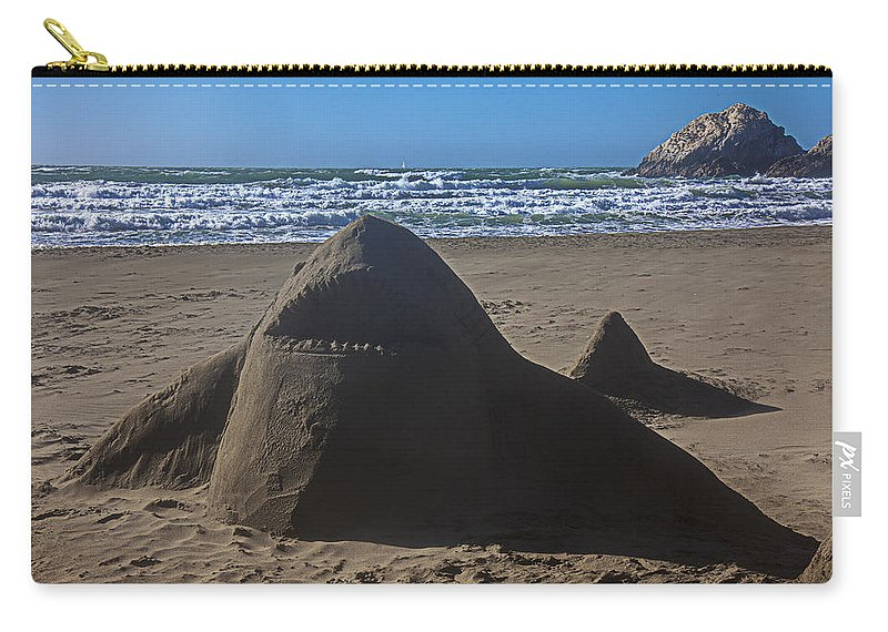 Shark Carry-all Pouch featuring the photograph Shark Sand Sculpture by Garry Gay