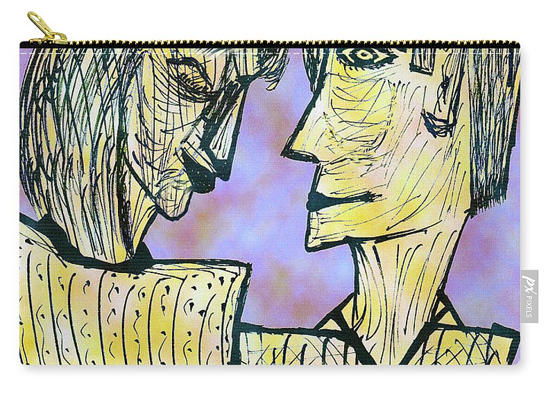 Digital Carry-all Pouch featuring the digital art She And He Pen And Ink 2000 Digital by Carl Deaville