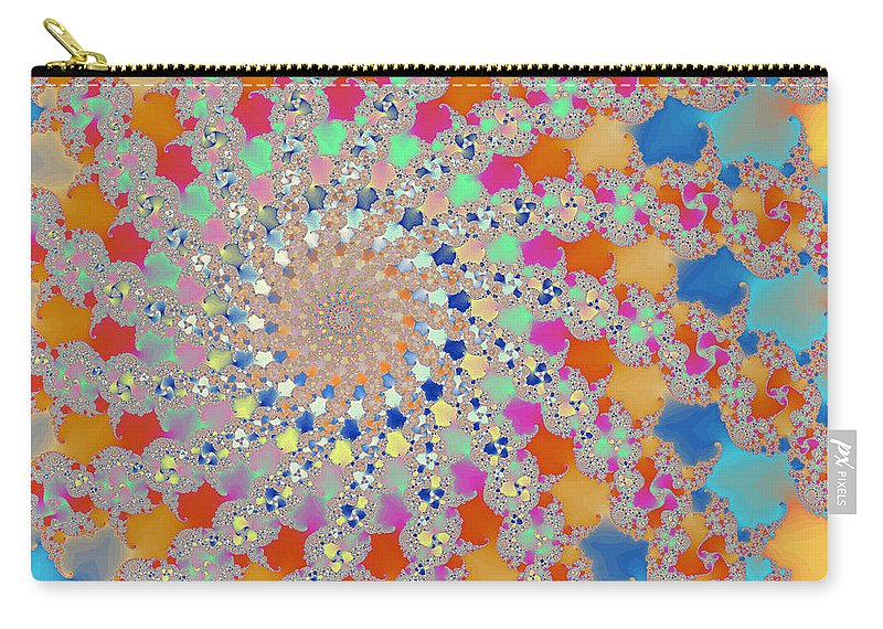 Fractal Carry-all Pouch featuring the digital art Shelly Spiral by Mark Greenberg