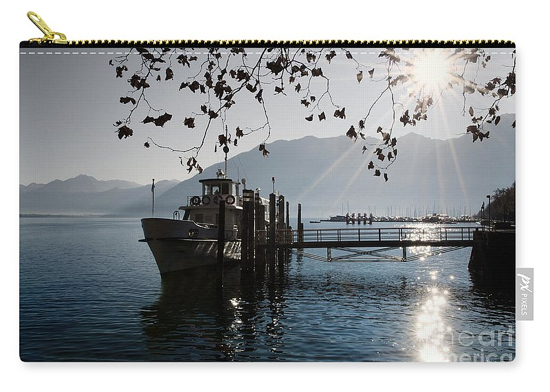 Ship Carry-all Pouch featuring the photograph Ship In Backlight by Mats Silvan