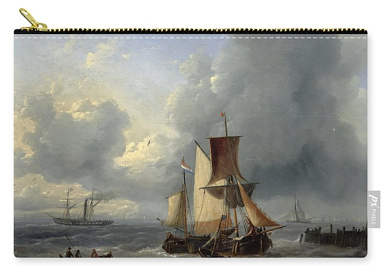 Shipping Off A Jetty Carry-all Pouch featuring the painting Shipping Off A Jetty by Louis Verboeckhoven