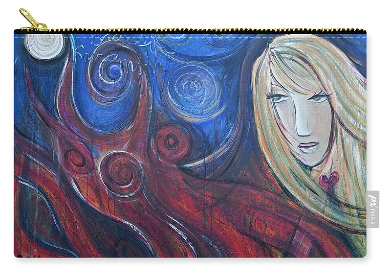 Fire Carry-all Pouch featuring the painting Shiva Rea's Sacred Fire by Laurie Maves ART
