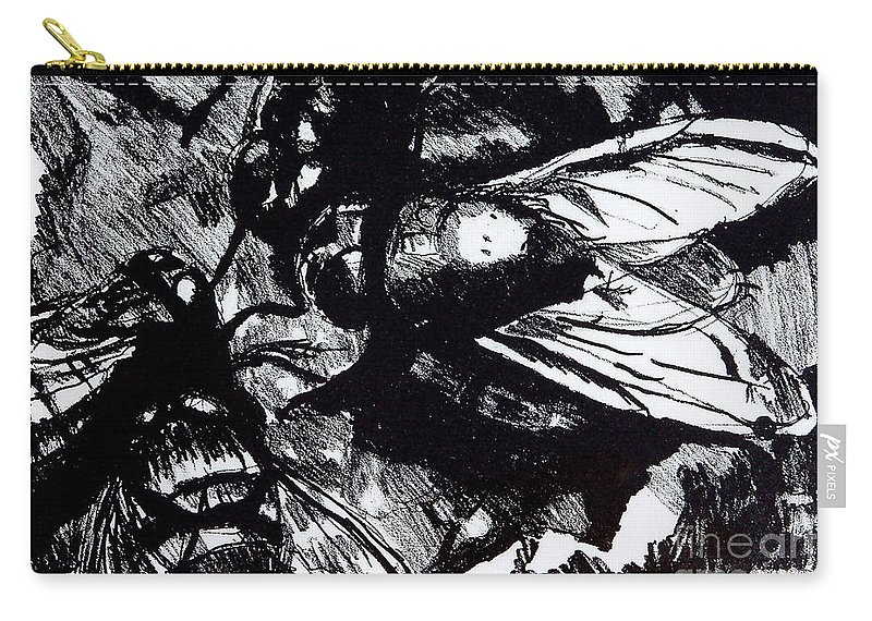 Lithograph Carry-all Pouch featuring the drawing Shoo In by Jan Bennicoff