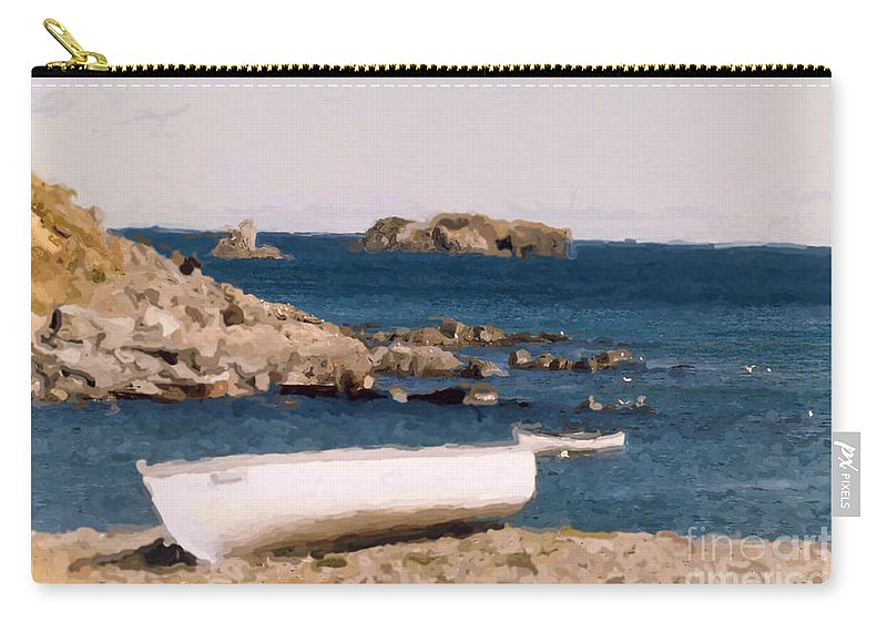 Scenery Carry-all Pouch featuring the photograph Shoreline Boat by Mary Mikawoz