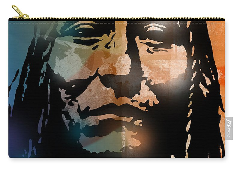 Native American Carry-all Pouch featuring the painting Shoshone Brave by Paul Sachtleben