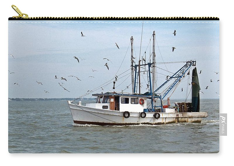 Shrimp Boat At Sea Carry-all Pouch featuring the photograph Shrimp Boat And Gulls by Robert Brown