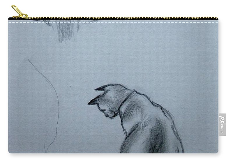 Cat Carry-all Pouch featuring the painting Siamese Cat Study by Caroline Street