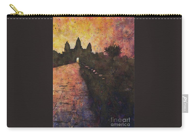 Angkor Wat Carry-all Pouch featuring the painting Siem Reap Sunrise 3 by Ryan Fox