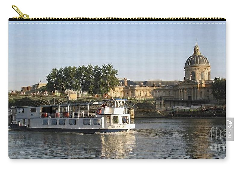 France Carry-all Pouch featuring the photograph Sightseeing Boat On River Seine. Paris by Bernard Jaubert