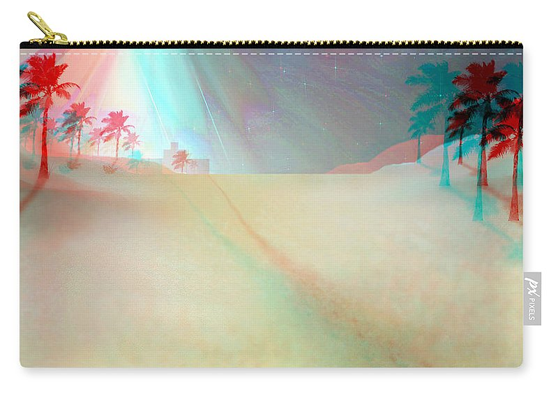 Brian Wallace Carry-all Pouch featuring the digital art Silent Night - Red And Cyan 3d Glasses Required by Brian Wallace