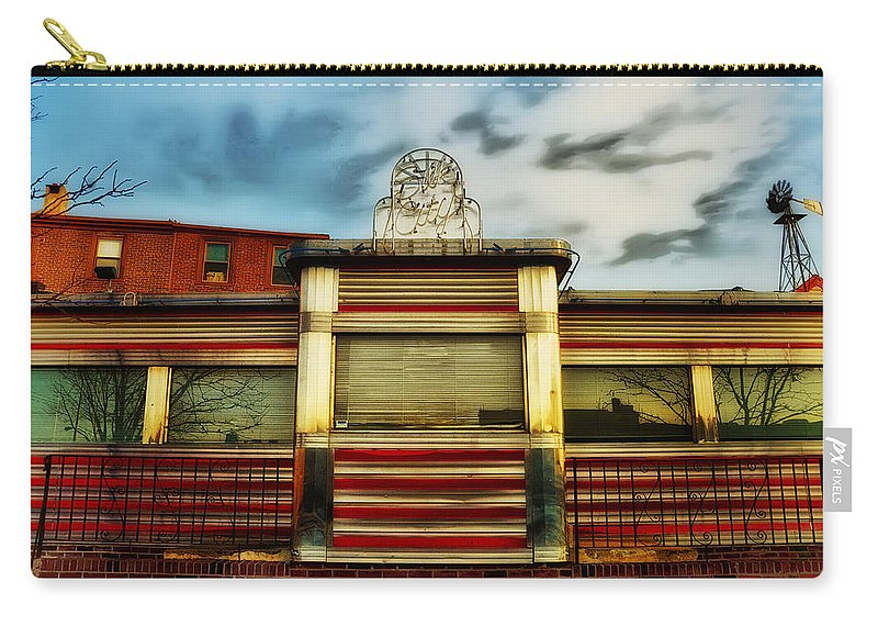 Silk City Lounge Carry-all Pouch featuring the photograph Silk City Lounge by Bill Cannon