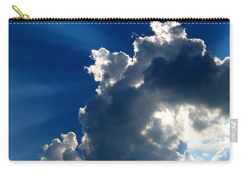 Clouds Carry-all Pouch featuring the digital art Silver Lining I by Dee Fabian