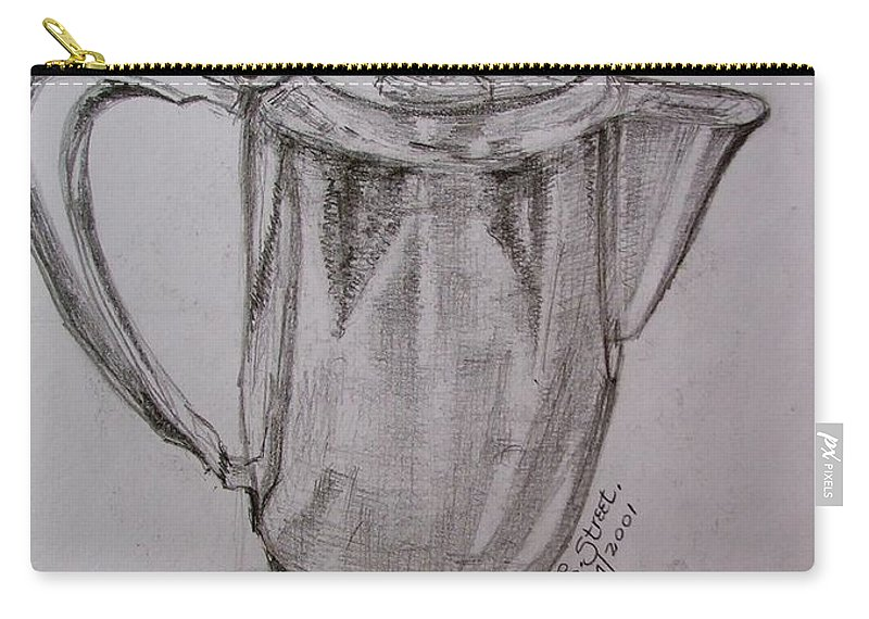 Still-life Carry-all Pouch featuring the painting Silver Teapot by Caroline Street