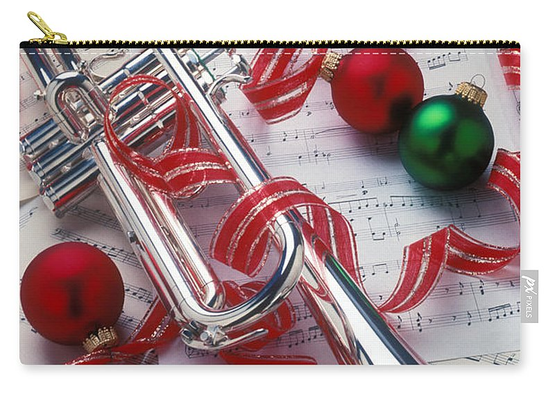 Trumpet Carry-all Pouch featuring the photograph Silver Trumper And Christmas Ornaments by Garry Gay