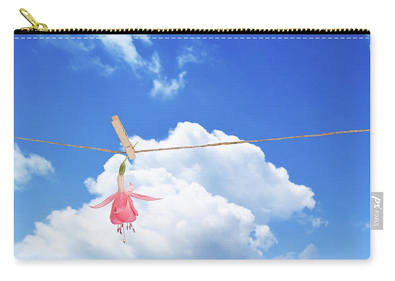 Fuchsia Carry-all Pouch featuring the photograph Single Fuchsia Head by Amanda Elwell