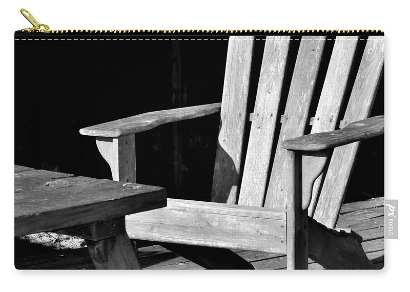 Black And White Carry-all Pouch featuring the photograph Sit A Spell by Kari Tedrick