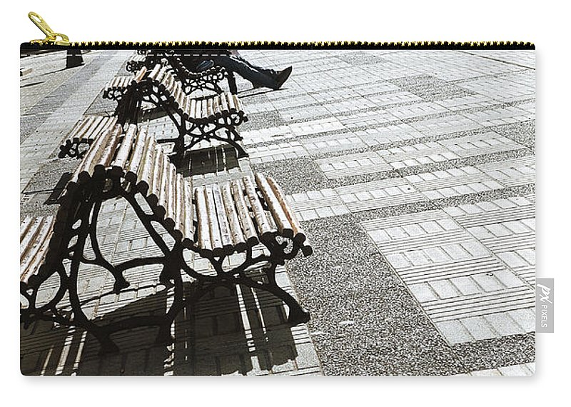Sitting In The Park Carry-all Pouch featuring the photograph Sitting In The Park - Madrid by Mary Machare