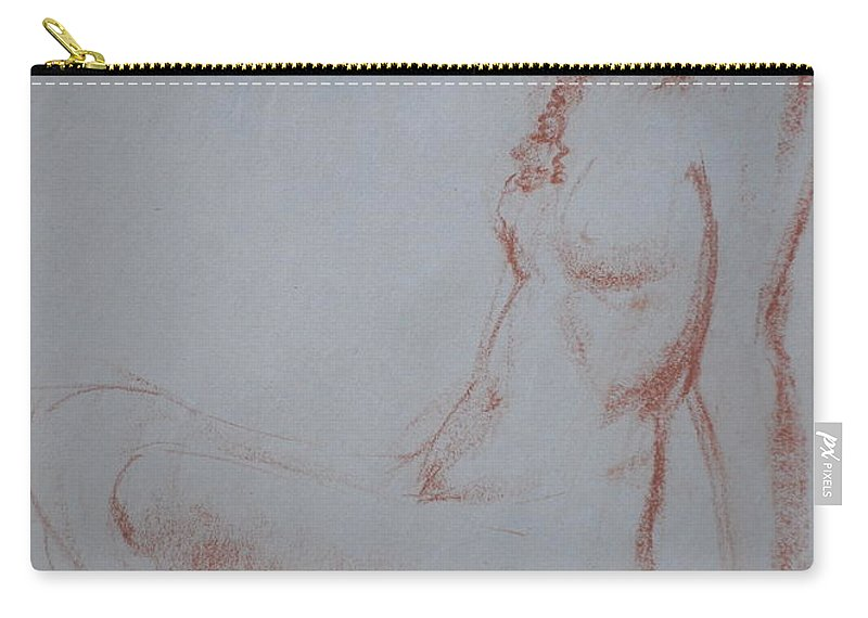 Conte Carry-all Pouch featuring the drawing Sitting Woman 2 by Jennifer Christenson
