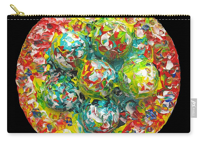 Original Carry-all Pouch featuring the painting Six Colorful Eggs On A Circle by Carl Deaville