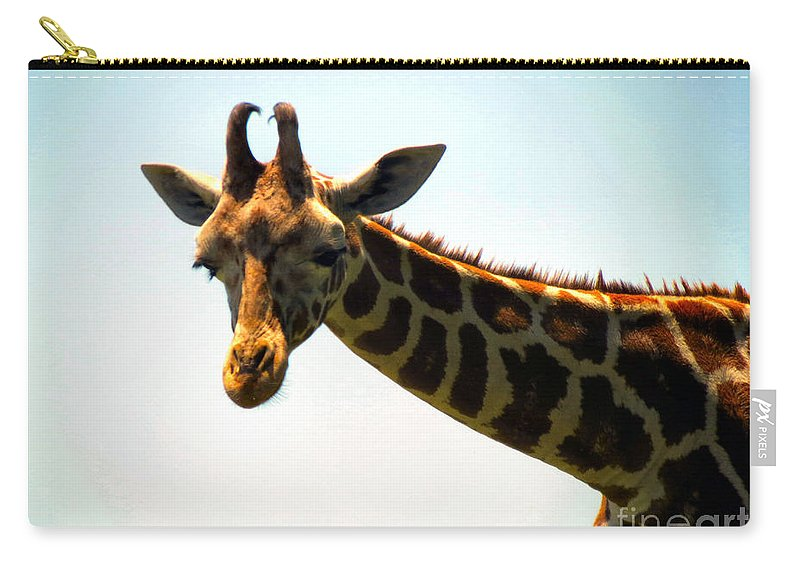 Giraffe Carry-all Pouch featuring the photograph Sky High by Art Dingo