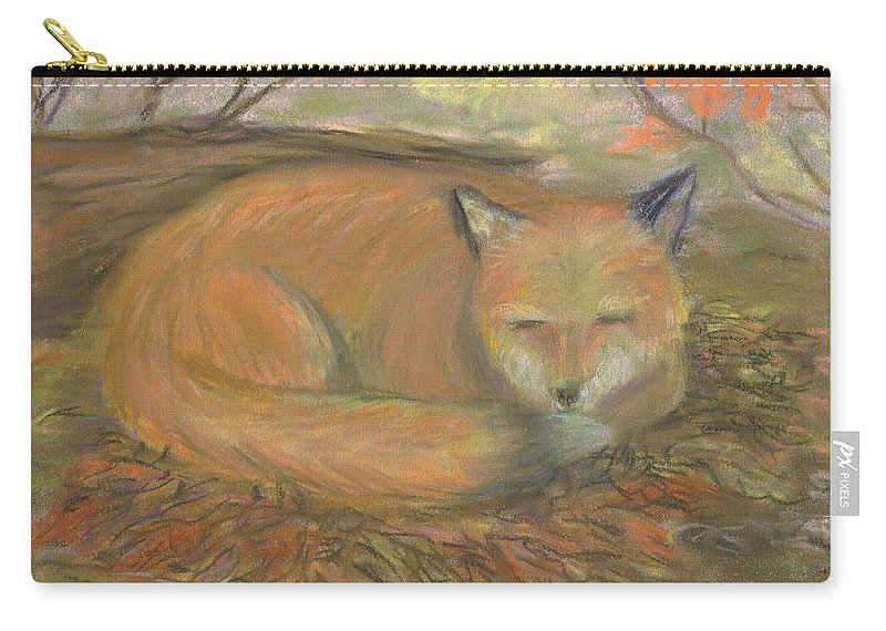 Fox Carry-all Pouch featuring the pastel Sleeping Fox by Lisa Guarino