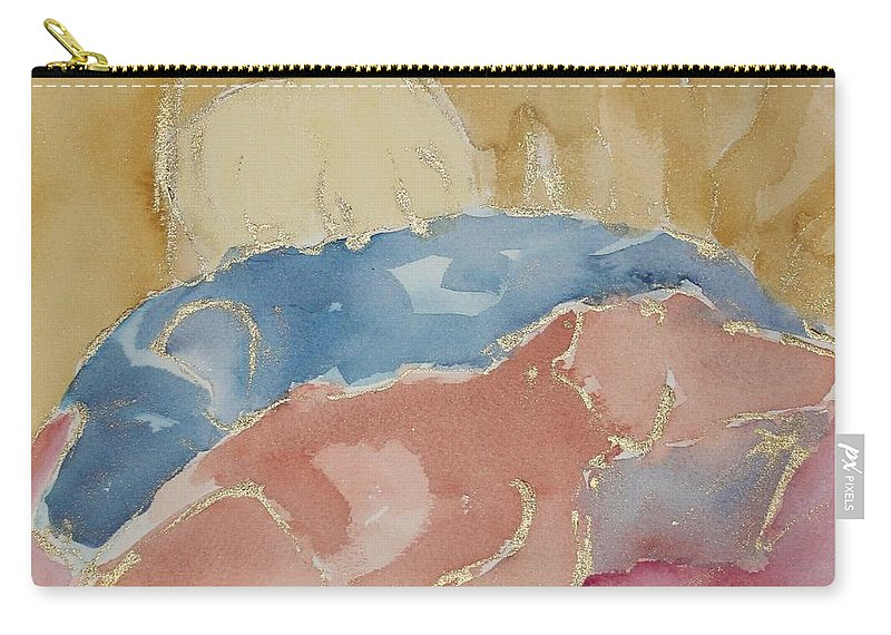 Dogs Carry-all Pouch featuring the painting Sleeping Labs Sketch by Sheila Wedegis