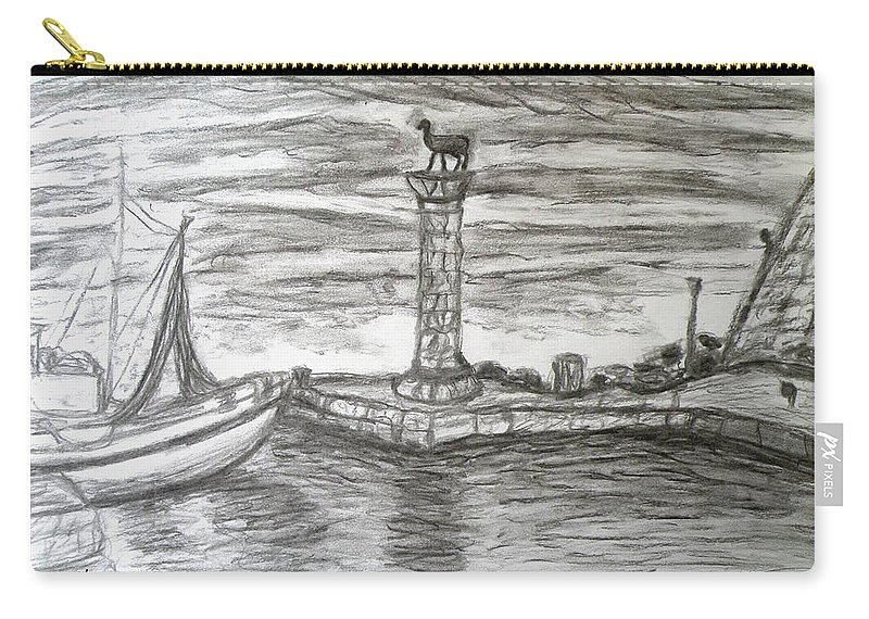 Small Boats At Rhodes Port Carry-all Pouch featuring the drawing Small Boats At Rhodes Port by Augusta Stylianou