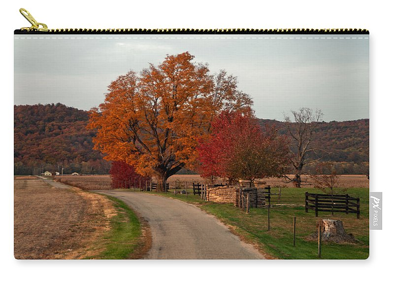 Small Country Road Carry-all Pouch featuring the photograph Small Country Road by Randall Branham