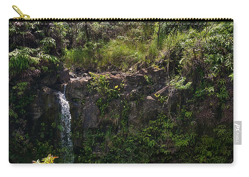 Interior Design Carry-all Pouch featuring the photograph Small Waterfall - Hana Highway by Paulette B Wright