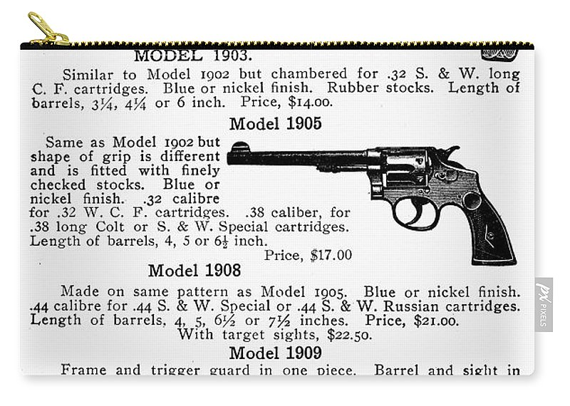 1910s Carry-all Pouch featuring the photograph Smith & Wesson Revolvers by Granger