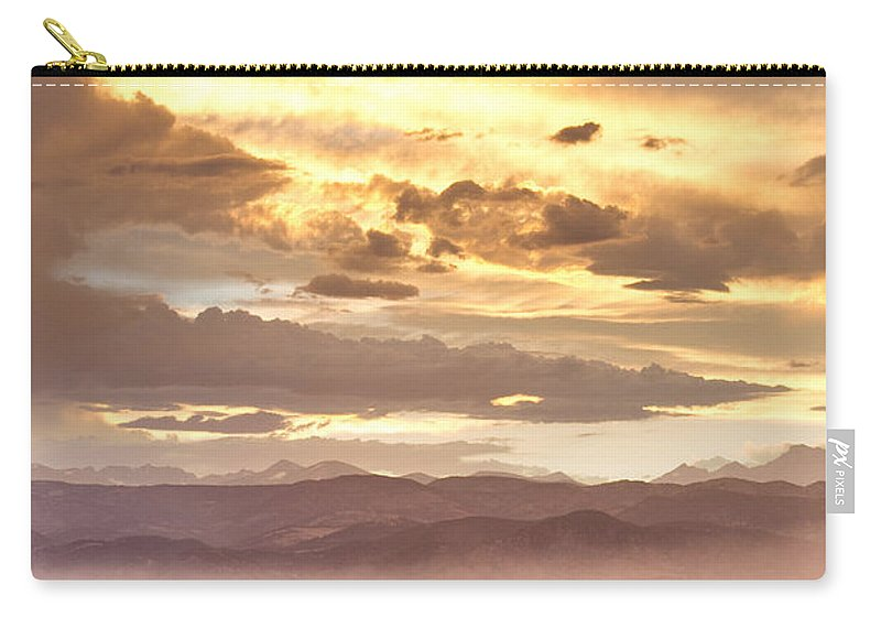 Flagstaff Fire Carry-all Pouch featuring the photograph Smoky Sunset Over Boulder Colorado by James BO Insogna