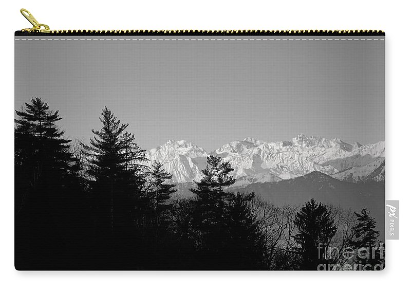 Trees Carry-all Pouch featuring the photograph Snow-capped Mountain And Trees by Mats Silvan