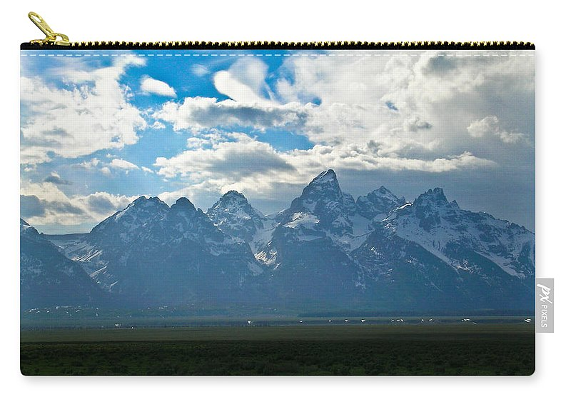 Teton Carry-all Pouch featuring the photograph Snow Capped Teton Mountains by Douglas Barnett