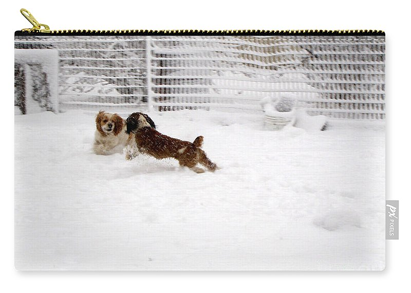 Animals Carry-all Pouch featuring the photograph Snow Day Play by Debbie Portwood