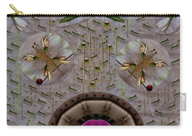 Landscape Carry-all Pouch featuring the mixed media Snow Flowers And Orchids In Heavenly Wisdom by Pepita Selles
