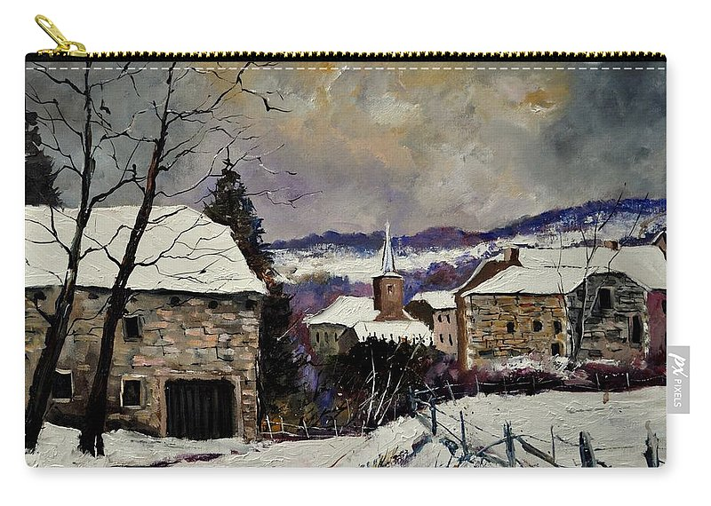 Landscape Carry-all Pouch featuring the painting Snow in Gendron by Pol Ledent