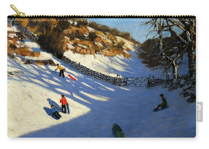Fields Carry-all Pouch featuring the painting Snow In The Valley by Andrew Macara